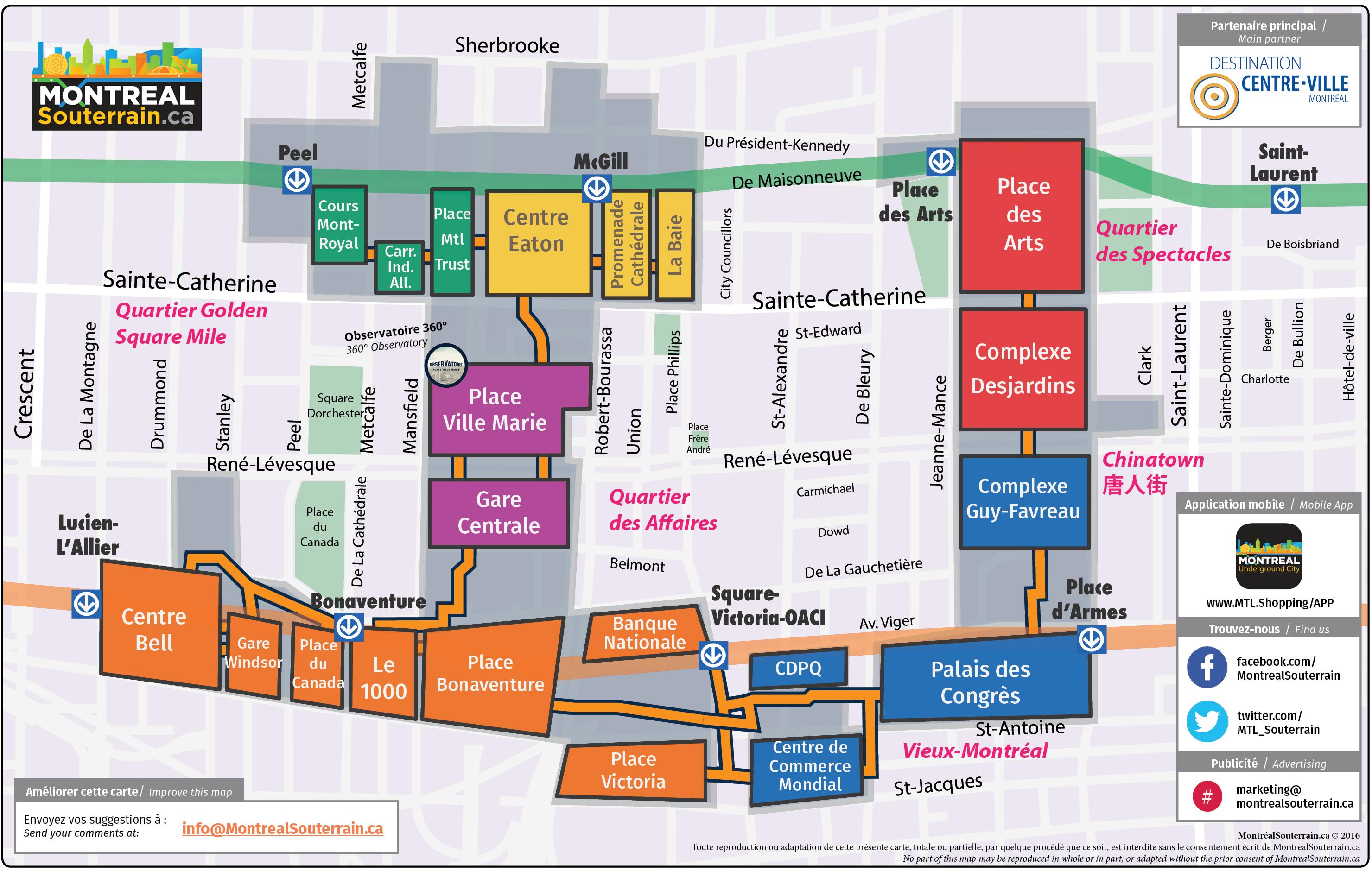 Carte montr al souterrain montr al souterrain map - Centre de reeducation fonctionnelle port royal ...